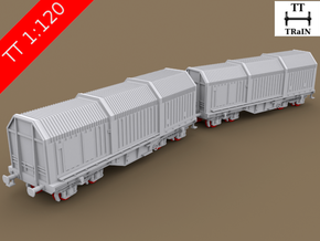 TT Scale Shimms Wagon 2pcs complete set (EU) in Smooth Fine Detail Plastic