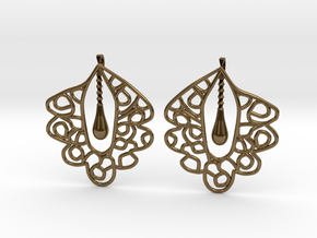 Granada Earrings (Plane Shape). in Polished Bronze