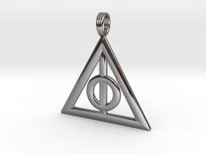 Harry Potter Deathly Hallows Pendant in Fine Detail Polished Silver