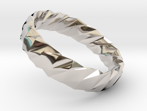 Twistium - Bracelet P=160mm h15 Alpha in Rhodium Plated Brass