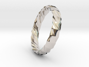 Twistium - Bracelet P=200mm h15 Alpha in Rhodium Plated Brass
