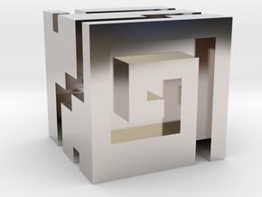 Nuva Cube in Rhodium Plated Brass