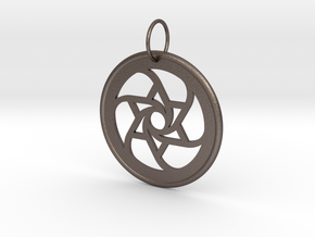 Spiral Star Pendant in Polished Bronzed Silver Steel