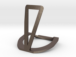 cellphone Stand in Polished Bronzed Silver Steel