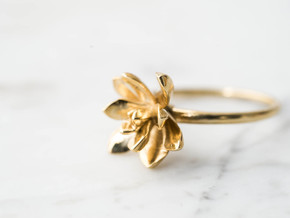 Succulent Stacking Ring No. 3 in Polished Brass: 8 / 56.75