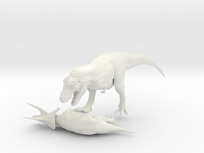 Tyrannosaurus VS Triceratops 1:40 in White Strong & Flexible