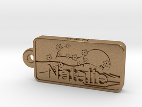 Natalie Name Japanese tag in Natural Brass