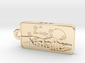 Natalie Name Japanese tag in 14k Gold Plated Brass