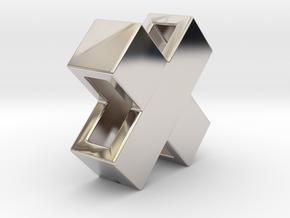 Swiss X pendant 10mm in Rhodium Plated Brass