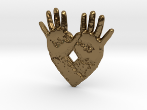 open hand open heart in Polished Bronze