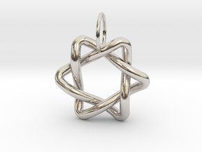 Interlacing Triangle Pendant in Rhodium Plated Brass