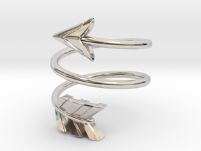 Spiral Arrow Ring - 18.89mm - US Size 9 in Rhodium Plated Brass