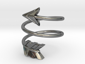 Spiral Arrow Ring - 17.35mm - US Size 7 in Fine Detail Polished Silver