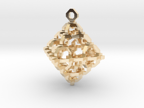 Diamond Cage Pendant in 14k Gold Plated Brass