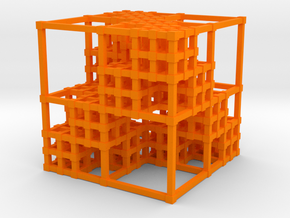 Menger Sponge v3 in Orange Strong & Flexible Polished
