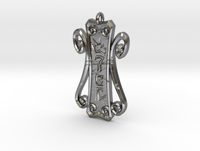 Runic Amulet 01 - 60mm in Polished Silver
