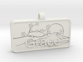 Grace name Japanese stamp hanko v2 in White Natural Versatile Plastic