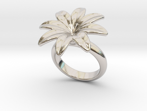 Flowerfantasy Ring 14 - Italian Size 14 in Rhodium Plated Brass
