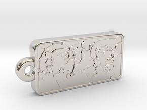 Customizable Raijin Fujin Name Tag in Rhodium Plated Brass