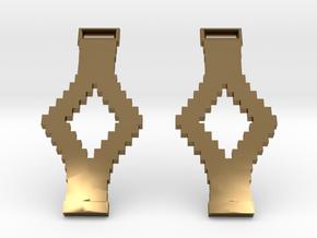 Tetris Earrings in Polished Bronze
