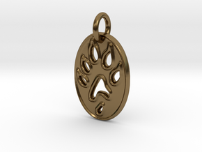 Tiny paw print ferret necklace in Polished Bronze
