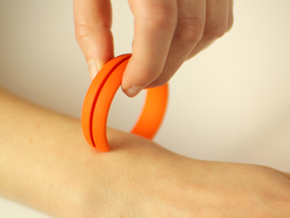 Bracelet01-straight in Orange Processed Versatile Plastic