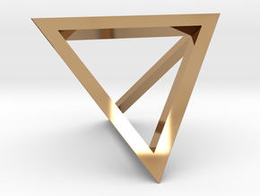 Tetrahedron Pendant in Polished Brass