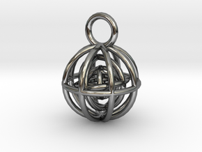 Charm: Spheres within Sheres in Fine Detail Polished Silver