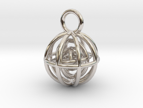 Charm: Spheres within Sheres in Rhodium Plated Brass