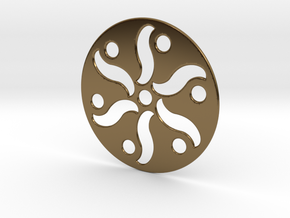 Crop Circle Pendant Flower in Polished Bronze