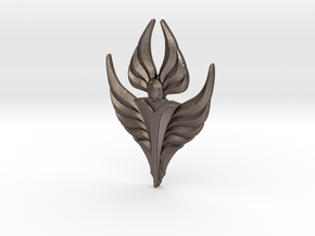 Fire Angel Pendant 02 - 60mm in Polished Bronzed Silver Steel