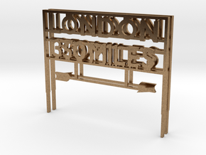 London 350 miles Sign in Natural Brass