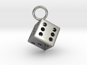 Charm: Dice in Natural Silver