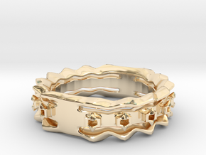 Wave Ring Size8 in 14k Gold Plated Brass