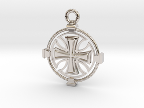 Knights Templar Crest in Rhodium Plated Brass