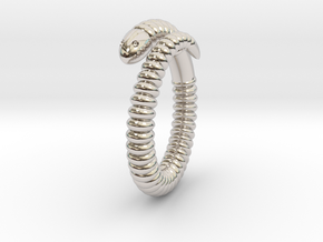 """Life of a worm"" Part 1 - ring in Rhodium Plated Brass"