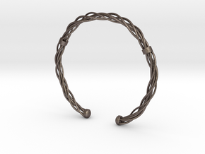 Plastic twist wrist band (M) in Polished Bronzed Silver Steel