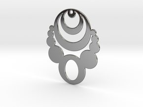 Crop Circle Statement Pendant in Fine Detail Polished Silver