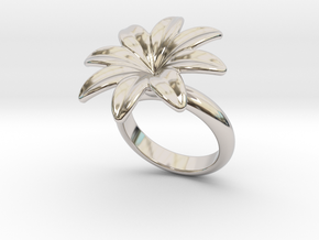 Flowerfantasy Ring 21 - Italian Size 21 in Rhodium Plated Brass