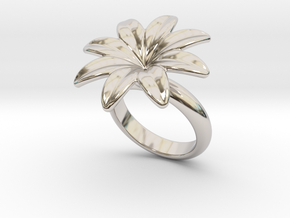 Flowerfantasy Ring 25 - Italian Size 25 in Rhodium Plated Brass