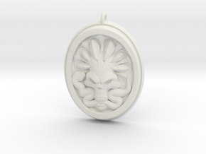 Skull and Snake Pendant 01 - 50mm in White Natural Versatile Plastic