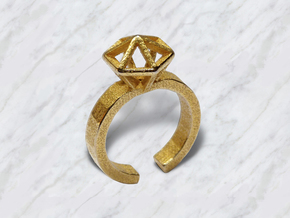 Gold Stereodiamond Ring in Polished Gold Steel: Large