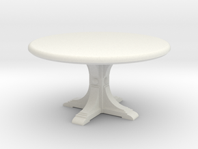 Cafe table, round. 1:48 scale. in White Strong & Flexible