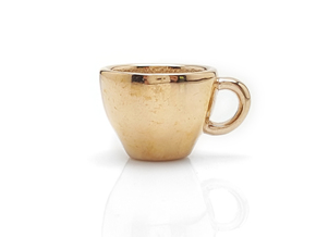 Cappuccino Mug Pendant / Charm (Large) in Polished Bronze