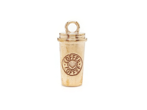 To-Go Coffee Charm / Pendant in Polished Bronze