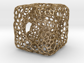 voronoi desktop cube in Polished Gold Steel
