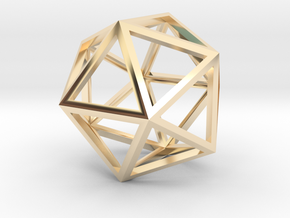 Icosahedron Pendant in 14k Gold Plated Brass