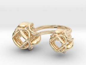 Double Rose Ring size 1 in 14k Gold Plated Brass