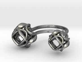 Double Rose Ring size 4 in Polished Silver