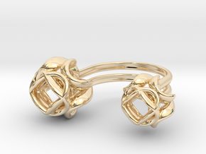 Double Rose Ring size 4 in 14k Gold Plated Brass